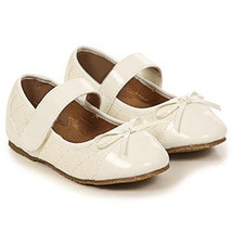 Ivory Faux Leather Round Toe Quilted Mary Jane Style Birthday Flower Girl Shoes - $27.00+
