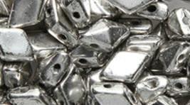 Jet Antique Silver Czech Glass Twin Hole Beads Diamond Duo 5 mm x 8 mm 1... - $8.50