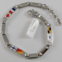 SOLID 925 SILVER WHITE BRACELET WITH GLAZED NAUTICAL FLAGS MADE IN ITALY SIZABLE