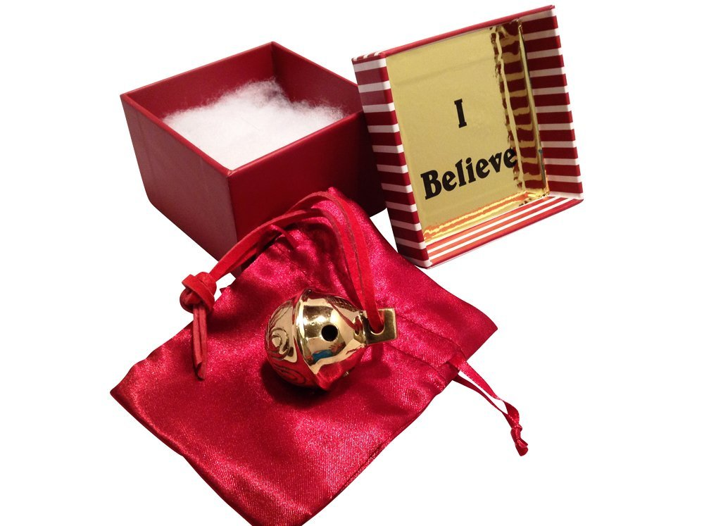 Miniature Santa Sleigh Bell #1 Golden Brass in I Believe Box Help an Angel Ge...