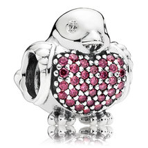 925 Sterling Silver Robin with Red Zirconia Charm Bead QJCB726 - $22.68