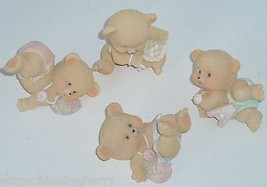4 Bouncing Baby Bears Home Interiors Figurines Kids Room Decor Pink Blue... - $14.97