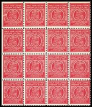 1920's Postage Production Test Block of 16 Stamps  - Stuart Katz - $300.00