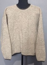Woolrich Sweater Crewneck Wool Blend Oat Mix Gray Trims Men's Size L EUC - $559,67 MXN