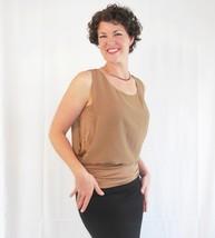 Taupe Chiffon Layered Blouse, Ruched Rayon Tank, Neutral Wardrobe Staple, Womens