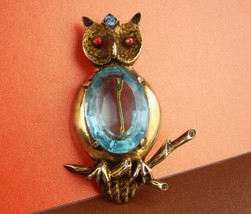 huge sterling pin - blue Jelly belly Owl Brooch - vintage bird pin Figur... - $175.00
