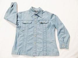 LEE Womens Blazer Jacket Top Light Blue Denim Sz Large Snap Button Made ... - $26.72