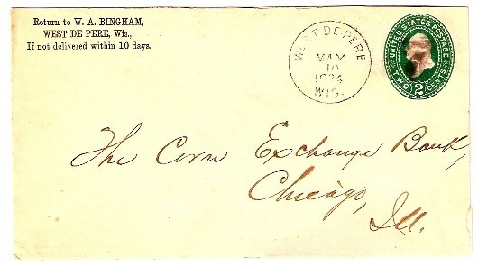 1894 West De Pere, WI Discontinued/Defunct Post Office (DPO) Postal Cover