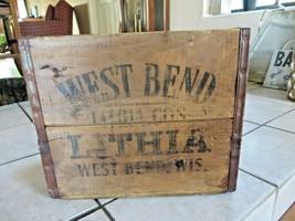 WEST BEND LITHIA, WISCONSIN OLD WOOD BEER CRATE FOR 6-32 OZ BOTTLES, RAR... - $295.65