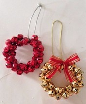 Jingle Bell Ornaments Christmas Gift Set of 2 Red Gold Color VTG Holiday... - $24.24