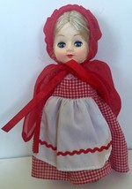 Little Red Riding Hood Sleepy Eye Doll Blonde Hair Gingham Dress Cape Vtg - $10.88