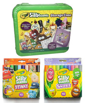 Lot of Crayola Sillyscents Sweet & Stinky Markers Green Storage Case + Stickers