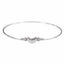 Thin Silver Tiny Crescent Moon Bangle Bracelet, Silver Plated Moon Bracelet