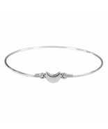 Thin Silver Tiny Crescent Moon Bangle Bracelet, Silver Plated Moon Bracelet - £4.51 GBP
