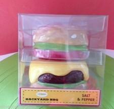 Cheeseburger Salt Pepper Shaker Set Ceramic Brand New in Package Christm... - $22.30