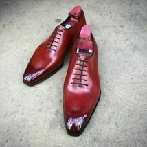 Men Oxford Maroon Patina Handpainted Whole Cut Formal Leather Handcrafte... - $139.99+