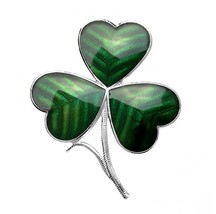 GREEN ENAMEL SHAMROCK BROOCH