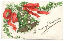 Artist Clapsaddle Mistletoe Bell 1908 Vintage Embossed IAP Christmas Pos... - $6.99