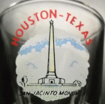Houston Texas Shot Glass San Jacinto Monument Against a Cloud Background