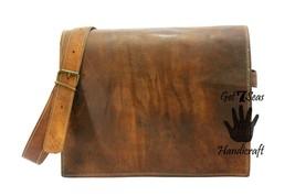 Leather satchel men's shoulder laptop bag women messenger men brown vintage bags - $67.98