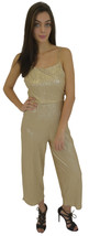 New Womens Ladies Crinkle Strappy Tie Back Culotte Jumpsuit Gold Size 6-... - $15.30