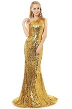 Gold Sequins Prom Dress Gown Long Mermaid 2017 Formal Evening Party Dress  - $139.00