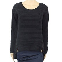 Bar Iii Long-Sleeve Double-Zipper Sweater, Black, Large - $33.66