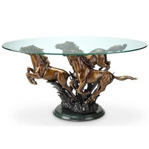 Galloping Horse Trio Coffee Table Stallion Western Equestrian  Marble Ba... - $1,012.77