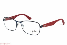 Ray Ban Men's Eyeglasses RB6318 2501 Silver Blue Rectangle Frame 52mm Authentic - $82.45