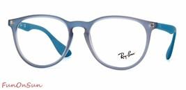 Ray Ban Unisex Eyeglasses RB7046 5484 Matte Gray Blue Rectangular Frame 53mm - $86.33
