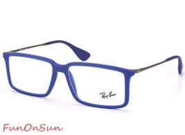 Ray Ban Eyeglasses RB7043 5467 Rubber Blue Rectangle Frame 54mm Authentic - $77.59
