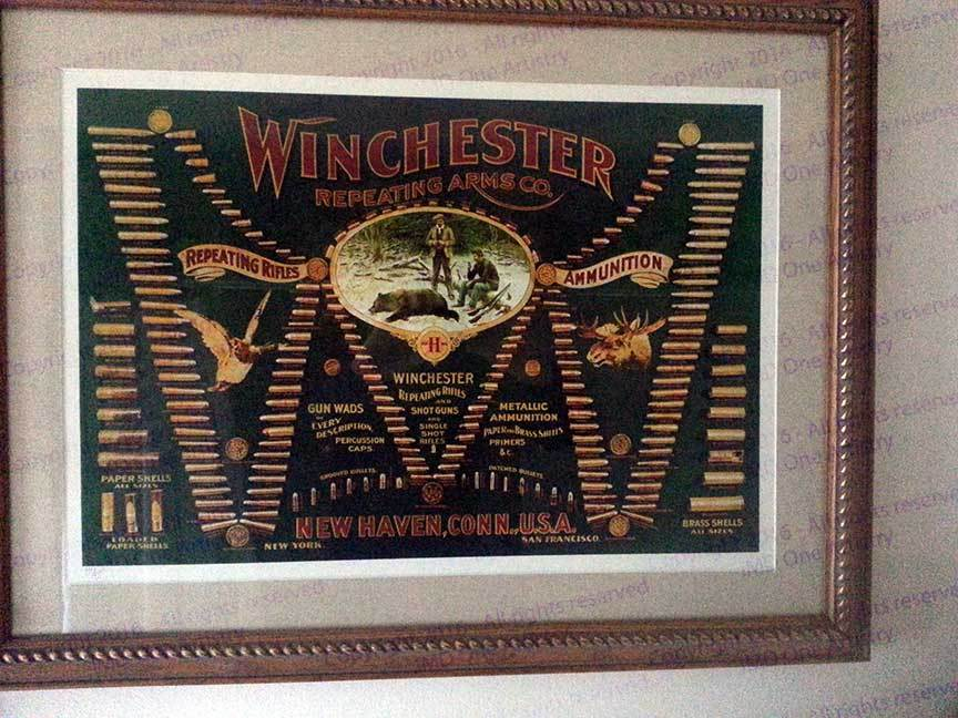 "Winchester ""Double-W"" Cartridge Board Framed numbered glicèe"