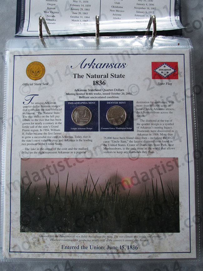 Postal Commemorative Society Statehood Quarters Collection Arkansas page