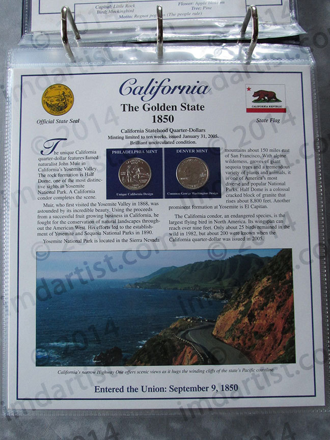 Postal Commemorative Society Statehood Quarters Collection California page