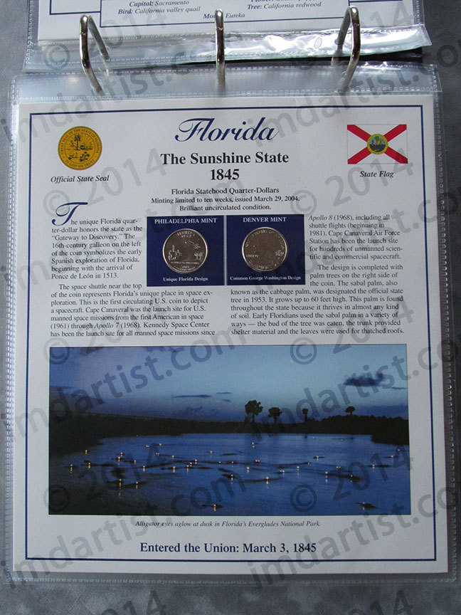 Postal Commemorative Society Statehood Quarters Collection Florida page
