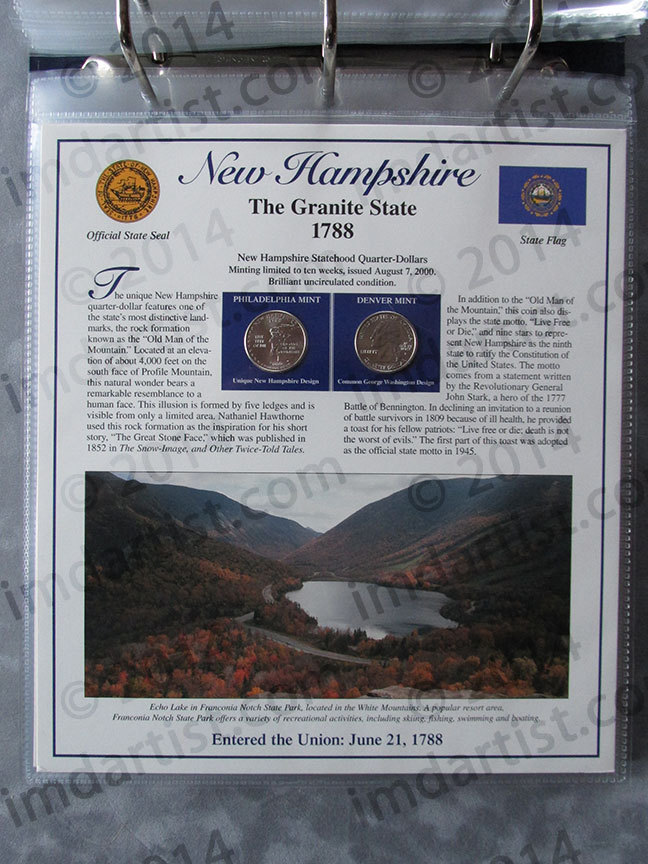 Postal Commemorative Society Statehood Quarters Collection New Hampshire page