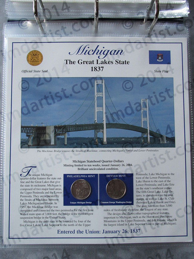 Postal Commemorative Society Statehood Quarters Collection Michigan page