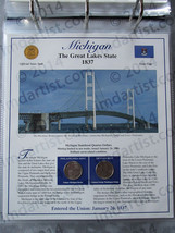 Postal Commemorative Society Statehood Quarters Collection Michigan page - $10.00