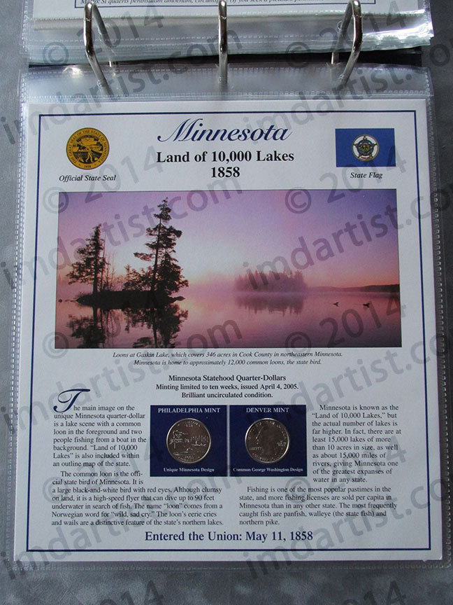 Postal Commemorative Society Statehood Quarters Collection Minnesota page
