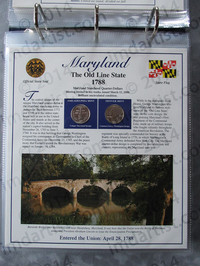 Postal Commemorative Society Statehood Quarters Collection Maryland page