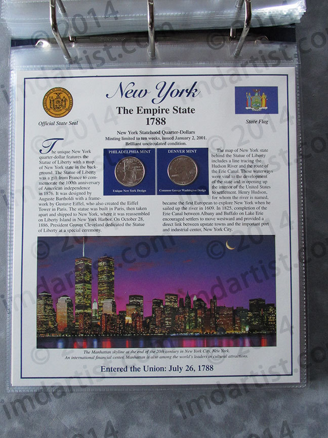 Postal Commemorative Society Statehood Quarters Collection New York page