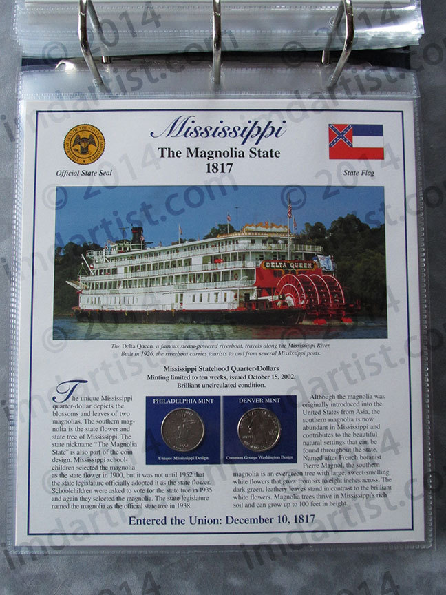 Postal Commemorative Society Statehood Quarters Collection Mississippi page