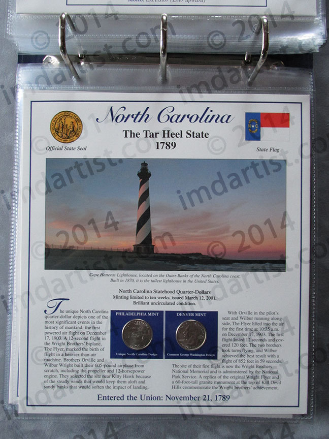 Postal Commemorative Society Statehood Quarters Collection North Carolina page