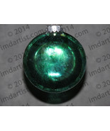 "3"" Tourmaline Green glass disc ornament - $20.00"