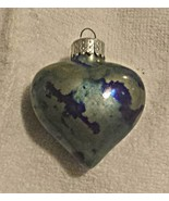 "2-1/4"" Indigo Storm glass heart ornament - $15.00"