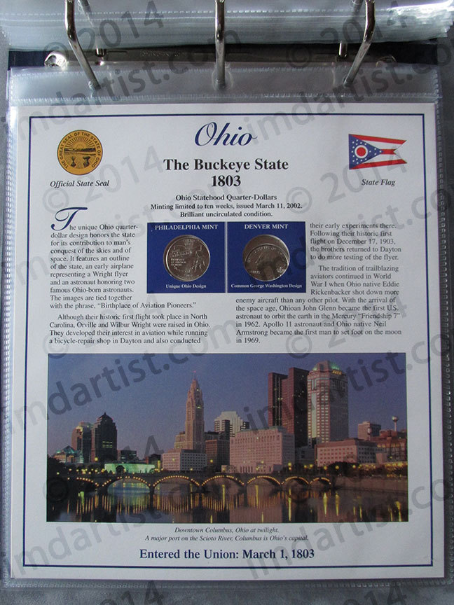 Postal Commemorative Society Statehood Quarters Collection Ohio page