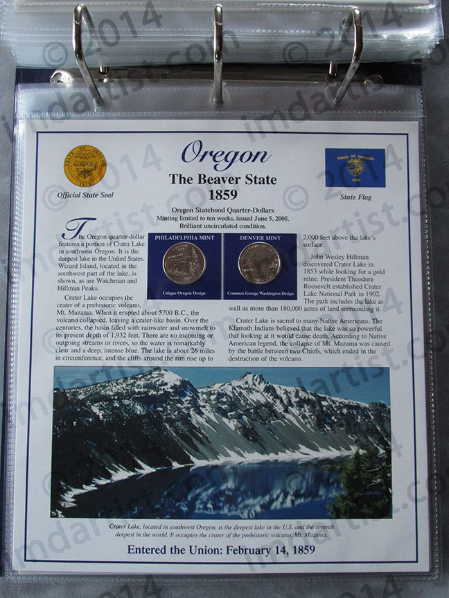 Postal Commemorative Society Statehood Quarters Collection Oregon page