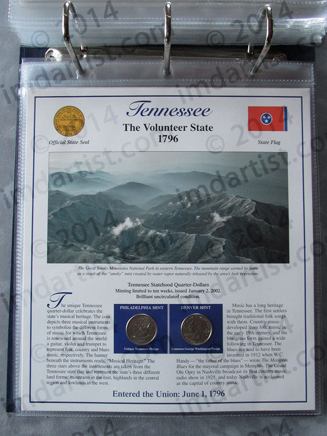 Postal Commemorative Society Statehood Quarters Collection Tennessee page