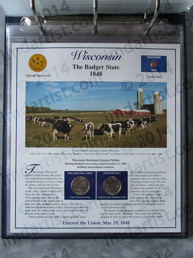 Postal Commemorative Society Statehood Quarters Collection Wisconsin page