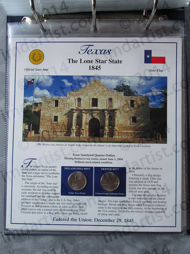 Postal Commemorative Society Statehood Quarters Collection Texas page